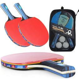 1Pair Professional Table Tennis Ping Pong Racket Paddle Bat+