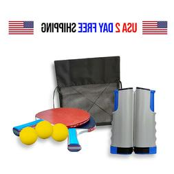 7-Piece Table Tennis/Ping Pong Set, Expandable, Net, 2 Paddl