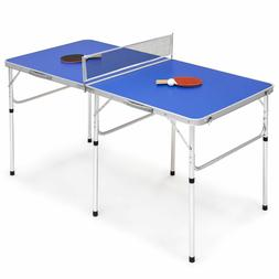 """Blue 58"""" Portable Folding Ping Pong Table Game Ball Paddle N"""