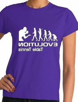 Evolution Of Table Tennis Sport Adult Ladies T-Shirt Gift Si
