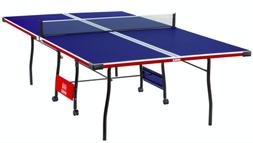 Indoor Table Tennis with Ping Pong Net Post Set Folding Roll