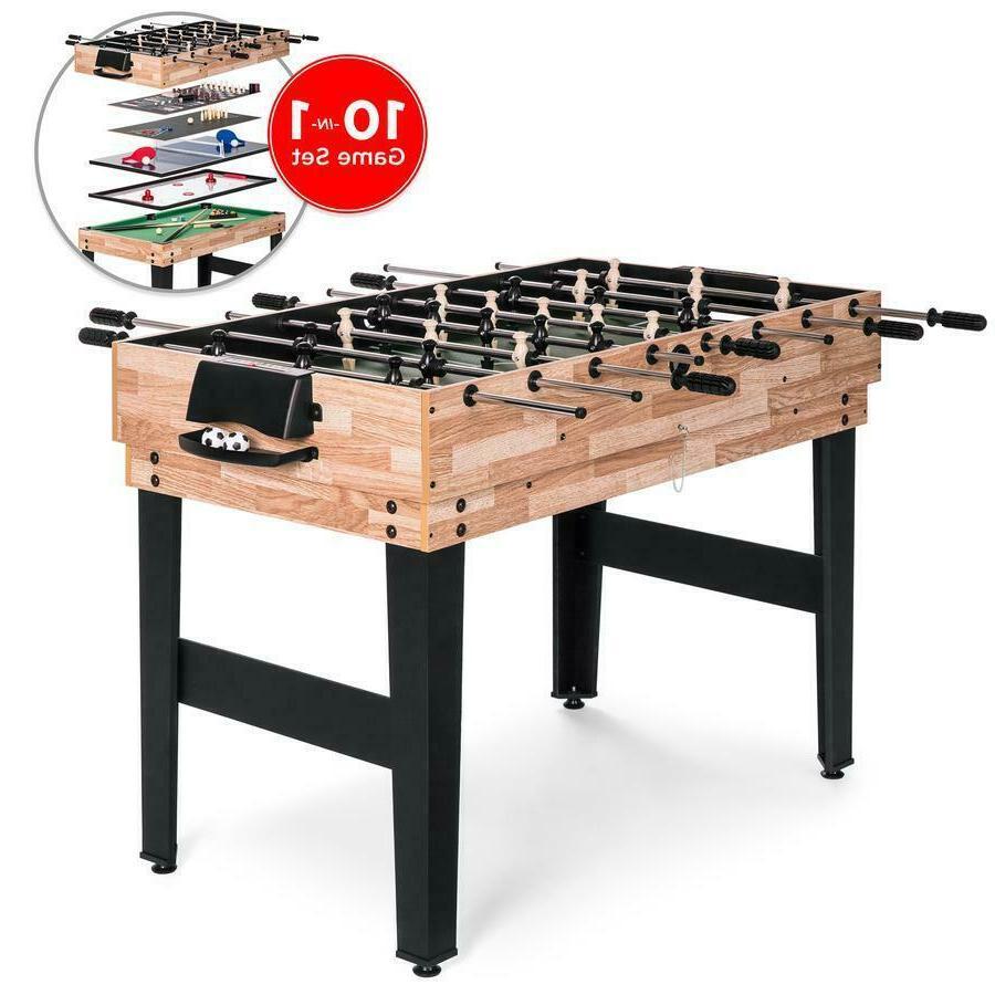 10-in-1 Combo Game Table Set Billiards Foosball Ping Pong Te