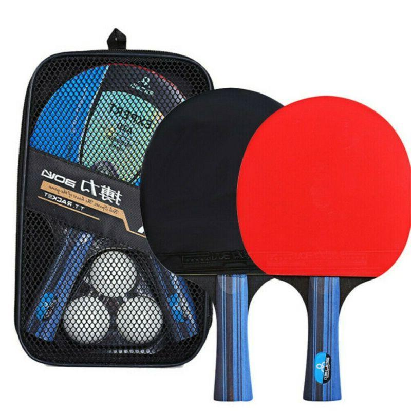 1Pair Ping Pong Racket Paddle Bat+3pcs
