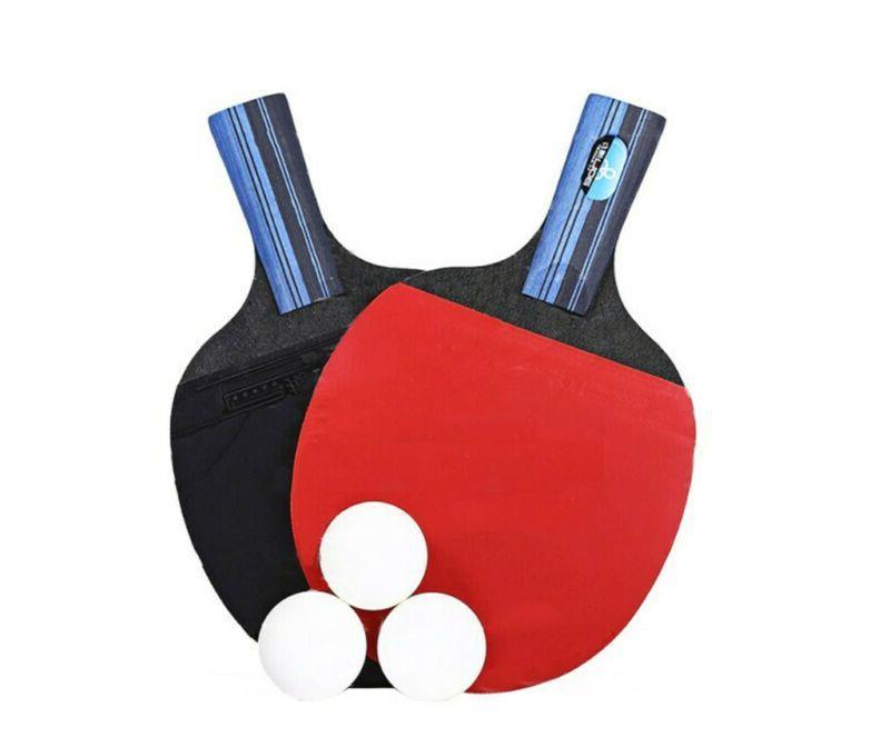 1Pair Tennis Ping Bat+3pcs Balls