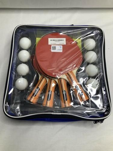 4 pack pro ping pong paddle set