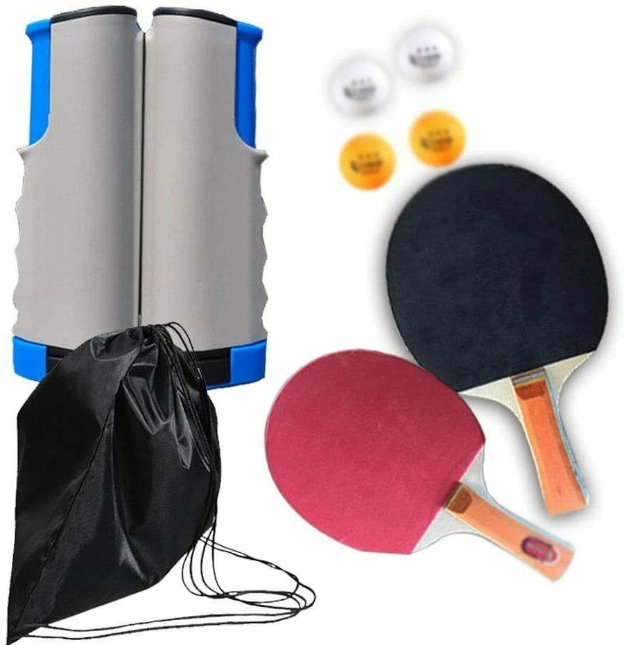 7-Piece Tennis/Ping Set, Expandable, Net, Paddles, 3 Balls Bag