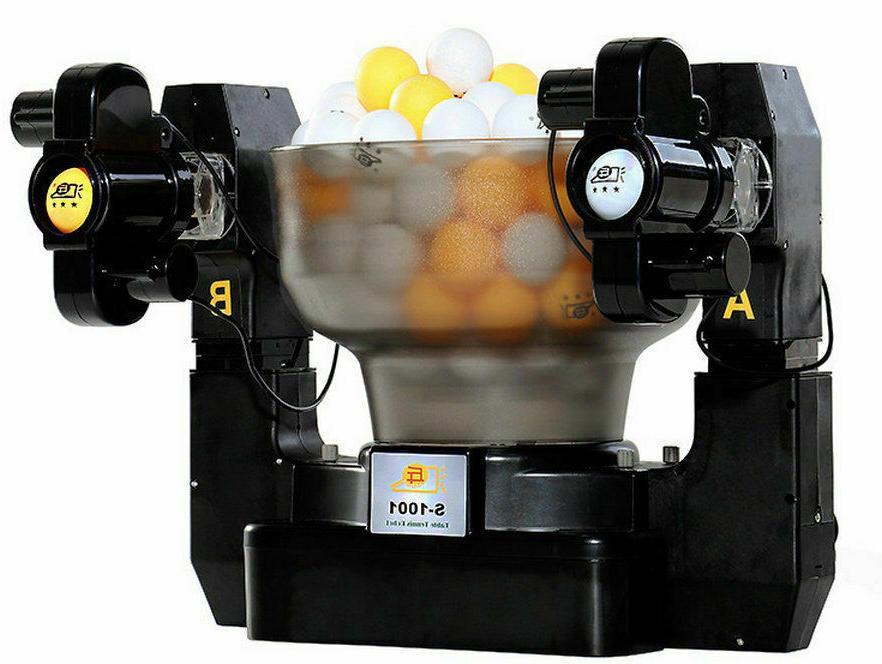 Dual Head 4 Wheels Table Tennis Robot Ping Automatic Trainin