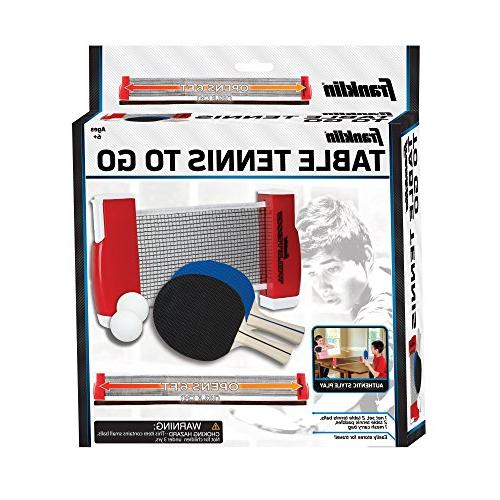 Franklin Sports To-Go Complete Portable Ping-Pong Set – Includes Ping-Pong and Net, Plus Easy-Carry – Expands Easily Surfaces