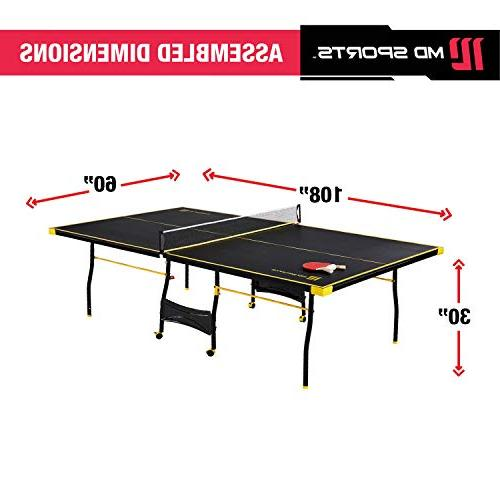 MD Sports Table Tennis Set, Regulation Ping Table with Paddles and Balls & Yellow