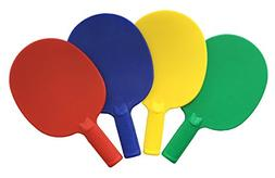 Plastic Ping Pong Paddles - Complete Set of 4 Durable Multi-