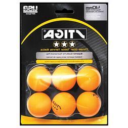 Stiga Three Star Orange Table Tennis Balls - 6 Balls