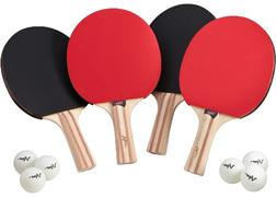 Viper Table Tennis Accessory Set, 4 Rackets/Paddles and 6 Ba