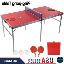 Table Tennis Ping Pong Table + Paddle Balls for Small Spaces